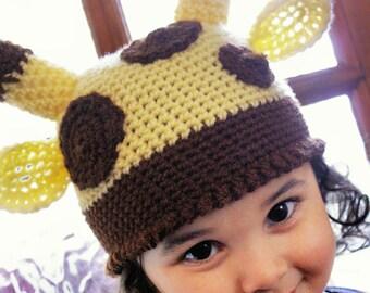 2T to 4T Childrens Giraffe Hat Jungle Safari Hat Unisex Giraffe Beanie Animal Childrens Hat Yellow Brown Giraffe Childrens Hat Costume