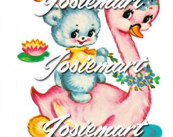 Vintage Digital Download Pink Swan Kawaii Vintage Image Collage Large JPG