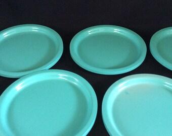 Six Turqoise Diner Plates