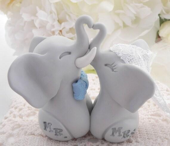 Elephant Wedding Cake Topper, Light Grey Elephants, Aqua Bowtie, Mr. & Mrs. Bride and Groom Keepsake, Fully Custom