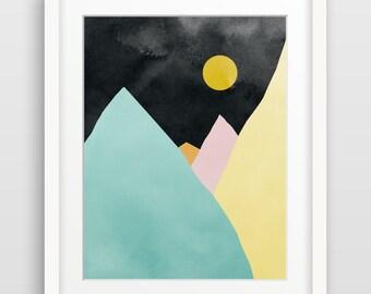 Mountain Art, Geometric Print, Modern Abstract Wall Art, Abstract Watercolor, Minimal Art, Abstract Landscape