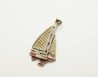 SALE Vintage Enamel/Metal Sailboat Charm