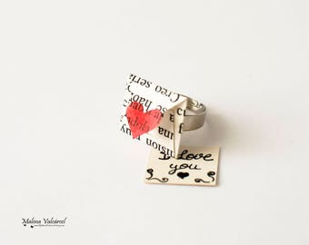 Personalised Message Envelope Ring - Paper Ring - Miniature Envelope Ring with Personalised Message