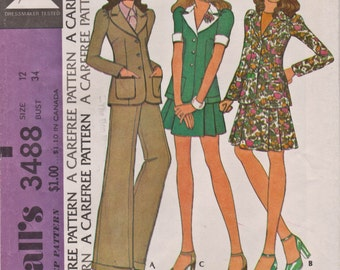 McCall's 3488, 1970s, THEATRE, Vintage Sewing Pattern, Three-Piece Suit, Skirt, Trousers