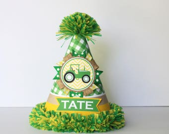 Tractor Birthday Party Hat - Green & Yellow Tractor Birthday - Boy Birthday - Tractor Birthday Party Decorations