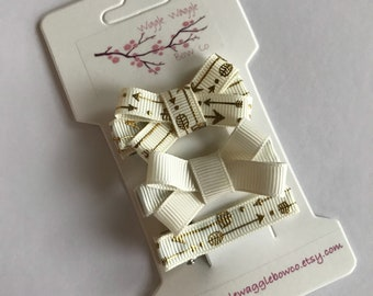 Ivory and gold arrow hair clip bows-clippies-baby-infant-toddler, baby girl gift, baby shower gift