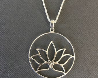 lotus Flower charm Necklace, symbol of Purity, 925 Silver necklace, Lotus charm, lotus flower pendant Necklace, muse411
