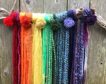 Chakra Yarn Tapestry Wall Hanging, Rainbow, Yoga, Pride, Pom Poms, Asymmetrical