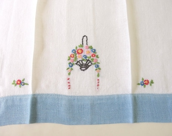 Vintage Embroidered Tea Towel, Blue Band and Basket of Flowers