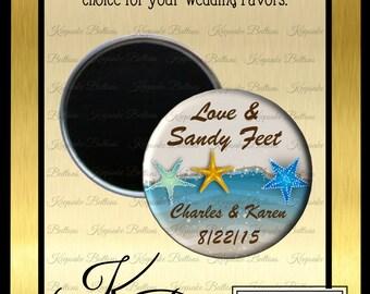 "Beach Wedding Favors, 2.25"" Custom Wedding Magnet, Love & Sandy Feet Wedding Favor, Custom Wedding Favors, Wedding Keepsake"