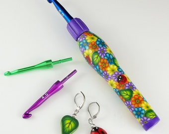 Interchangeable Ergonomic Crochet Hook Set - Multi-Floral in Purple