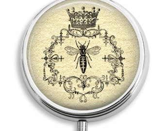 Pill Case Vintage Queen Bee on Burlap Background Pill Box Case Trinket Box Vitamin Holder Medicine Box Mint Tin Gifts For Her