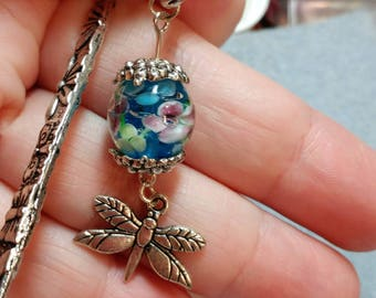 "Bookmark, Silver Tiny Dragonfly Charm with Blue Millifori with Flowers Bead, Glass Pearl Beads 5"", Gifts, Christmas, Birthdays (B6 Large)"