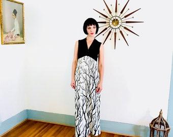 des années 70 maxi robe, Evelyn Pearson, Black & white robe, bouleau arbre imprimé Vintage des années 1970 maxi, Cocktail d'hôtesse, se prélasser vêtements, robe longue des années 60