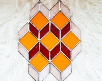 Geometric Glass Art,  Modernist Glass Art, Stained Glass Art,  Tiffany Glass,  Suncatcher,  Mid Century Art, Mid Century Modern