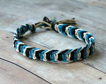 Alternating Half Knot Hemp Bracelet Turquoise Black White