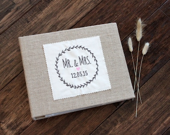 Mr & Mrs Wreath - Rustic Burlap Photo Album / Scrapbook - Wedding, Bridal Shower, Engagement, Anniversary, Housewarming, Hostess Gift