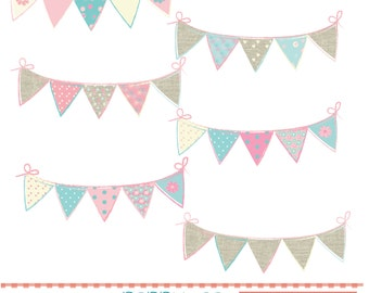 Bunting, pinks and blue, digital clipart