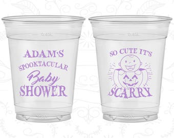 Halloween Baby Shower, Baby Shower Soft Sided Cups, Pumpkin Baby Shower, Baby Shower Disposable Cups (90088)