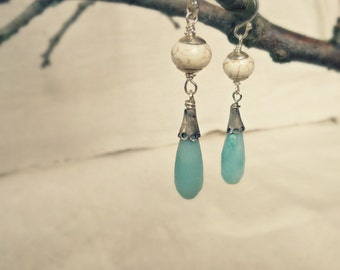 Rustic Silver Earrings, Amazonite blue stone earrings, White Howlite earrings, Dangle Earrings
