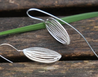 Silver Leaf Earrings - Long Silver Earrings - Sterling Silver Dangle Earrings - Statement Earrings - Brushed Silver Earrings - Leaf Jewelry