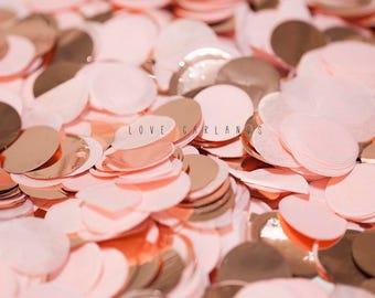 Blush Rose Gold Round Confetti, Blush Rose Gold Circle Confetti, Wedding Confetti, Rose Gold Confetti, Blush Balloon Confetti