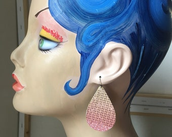 Iridescent metallic leather earrings