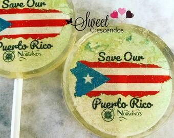 Puerto Rican Flag- Personalized Lollipops- Hard Candy Lollipops-Birthday favors- Party Favors- Bridal Shower- Wedding Favors- Lollipops- Map