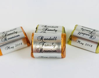120 Silver Foil Personalized Candy Labels/Wrappers/Stickers for your Hershey Nugget Chocolates - Makes Great DIY Family Reunion Favors