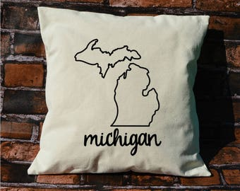 Michigan pillow, pillow gift, Michigan gift, decorative pillows, pillow cover, Michigan, throw pillows, MI pillow, envelope pillow cover