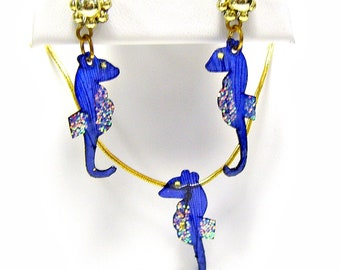 Sea Horse Necklace Earring Set Mermaid Beach Jewelry Made with Real Fish Scales TNISH