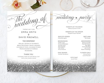 Silver Wedding Ceremony Program Printable Wedding Fan Program Elegant Wedding Program Silver Wedding Fan Program Wedding Schedule DIGITAL