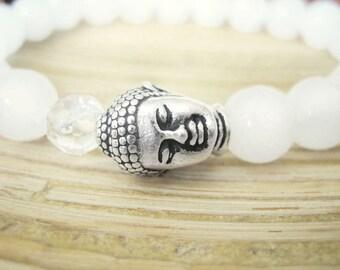 Buddha Bracelet -  White Jade Bracelet with Quartz Crystal Mala Bead and Silver Buddha Head, Yoga Bracelet for Mindfulness and Manifesting