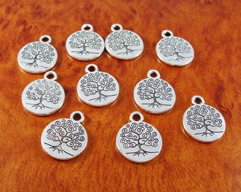 Tree of life charms / 10 silver plated charms / two sided charms for jewelry or crafts