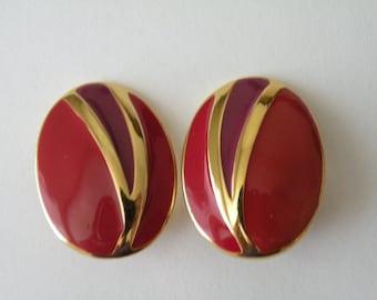 Trifari red, plum oval clip-on earrings. 1970-1980-s.