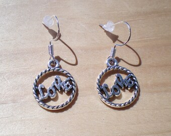 Love Earrings, Anniversary Earrings, Bridesmaids Earrings, Charm Earrings, Jewelry Findings