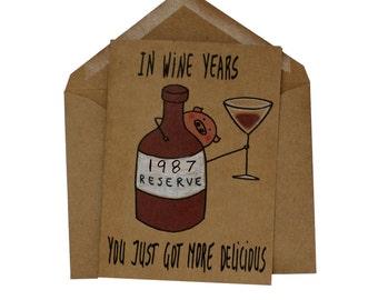 Funny birthday card wine - 30th birthday card sister - born 1987 birthday card - funny wine birthday card her - wine lover card