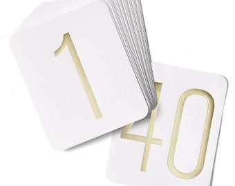 Table Number Cards for Wedding Receptions and Events Silver or Gold