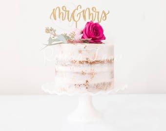 Cake Topper | Mr & Mrs | Hand Lettered Calligraphy | Metallic | Glitter | Wood | Gold | Rose Gold | Custom