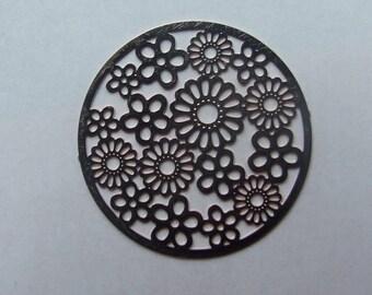 31 mm flower copper filigree disc