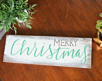 Silver glitter Merry Christmas sign, Christmas wall decor