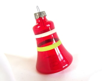 Vintage Unsilvered, Striped Red Large Bell Christmas Ornament USA