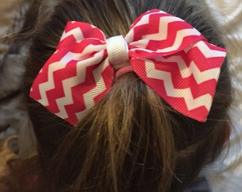 Pink and white chevron bow