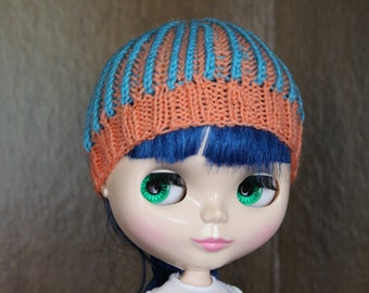 Blythe Knit Beanie Hat Salmon and Blue