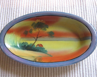 Vintage lustreware Japanese candy dish tree with cottage landscape