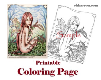 Coloring Page - Bleeding Hearts Fairy illustration Instant Download Printable File