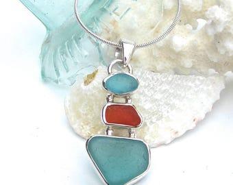 Aqua and Orange Sea Glass Necklace | Sea Glass Jewelry | Sea Glass Necklace | Sea Glass Pendant | Beach Glass Jewelry | SeaGlass Necklace