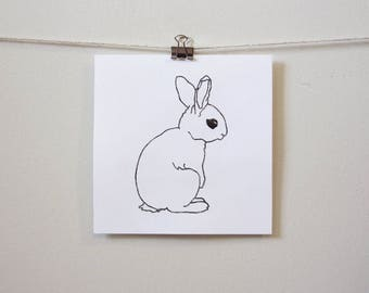 "modern minimal animal art: ""simply cute bunny,"" hand-pressed thermal print"