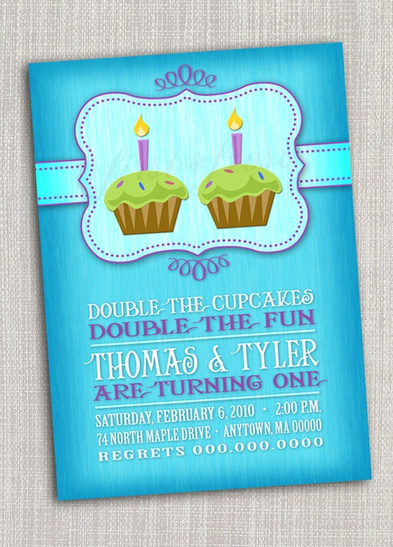 Twins first birthday party invitation cupcake twins first like this item filmwisefo Images