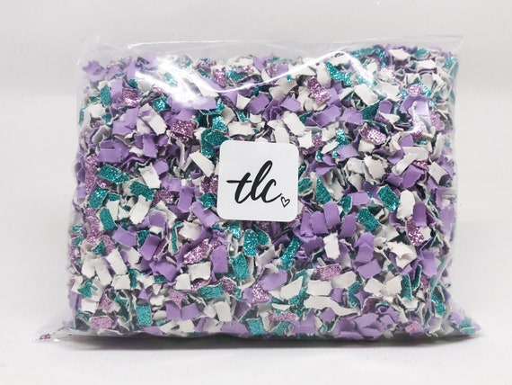 Mermaid Confetti - Purple + Aqua + White --- Tossing Confetti - Table Scatter - Piñata Filler - Basket Fill - Baby Shower - Confetti Toss